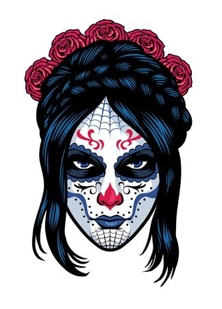women wearing sugar skull make up 向量圖像