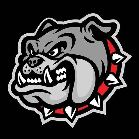 head of angry bulldog mascot Illustration