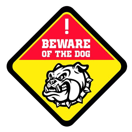 beware of the dog design with image of angry bulldog head Banco de Imagens - 136213639