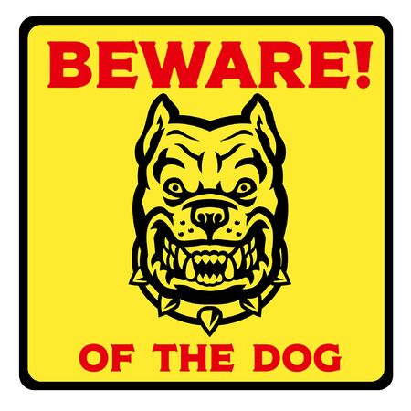 beware of the dog design with fierce pitbull dog