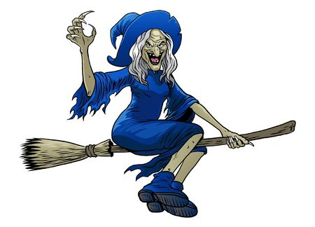 old witch riding flying broom