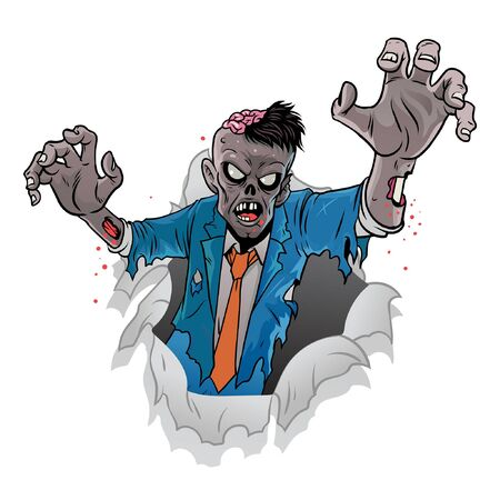 zombie coming out of the broken paper Ilustracja