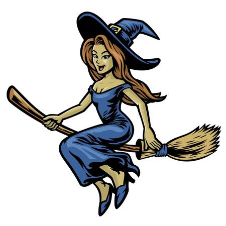 witch riding flying broom Banco de Imagens - 136213644