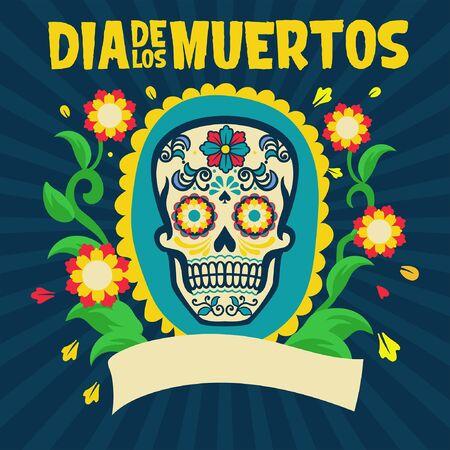 dia de los muertos design with floral decoration