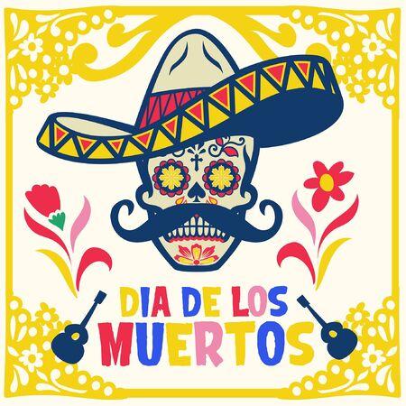 dia de los muertos design with sugar skull wearing mexican hat Banco de Imagens - 136214654