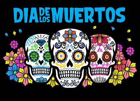 three sugar skull dia de los muertos celebration design Banco de Imagens - 136214655