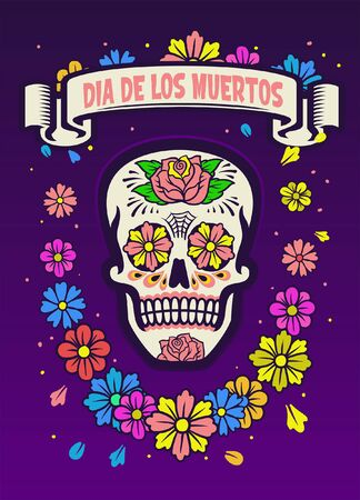 dia de los muertos colorful design with sugar skull Banco de Imagens - 136213646