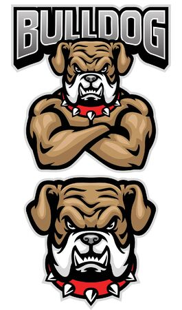 set bulldog mascot with big muscle body