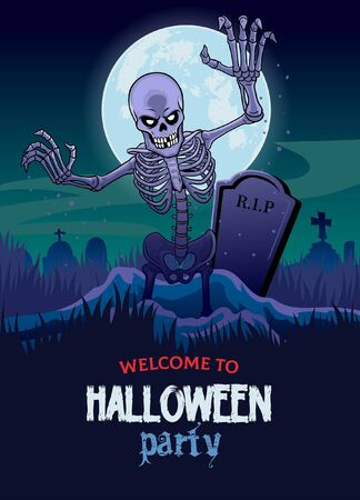 halloween poster design with skeleton coming out of the grave Ilustração