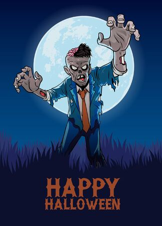 happy halloween poster with cartoon of zombie Banco de Imagens - 136199422