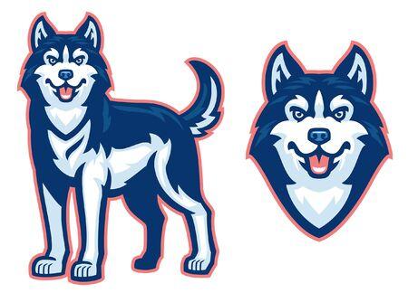 set of husky dog mascot