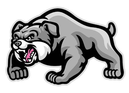 angry barking bulldog mascot Illustration