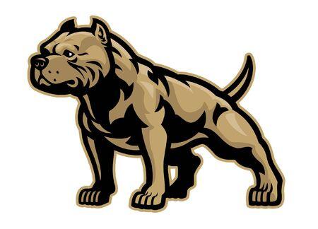 muscle pitbull mascot with whole body
