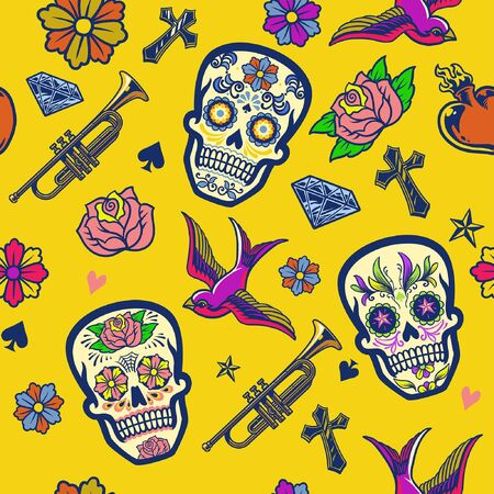 seamless pattern of sugar skull design Banco de Imagens - 136213652