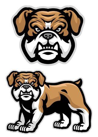 set of english bulldog character Illustration