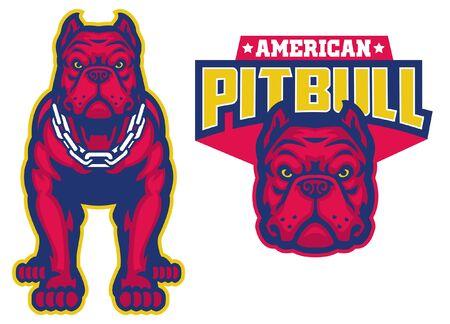 set of american pitbull mascot
