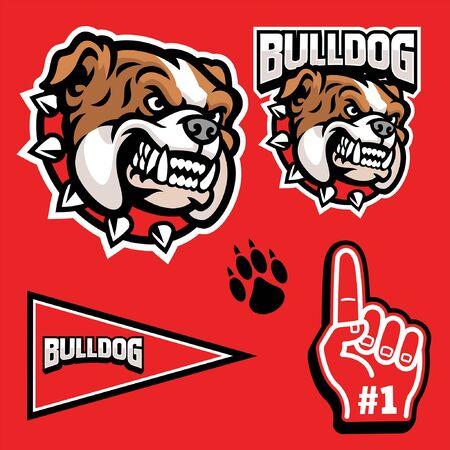 athletic bulldog mascot set Illustration