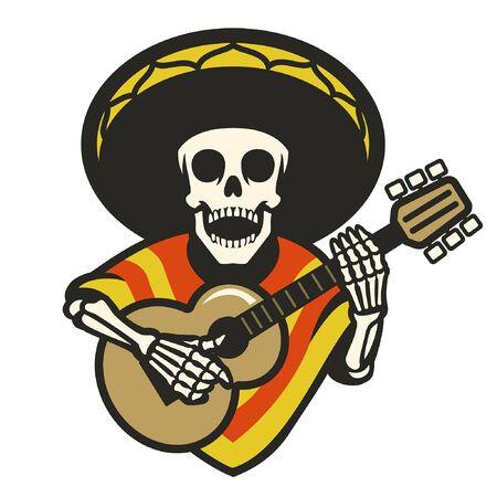 mexican skull with sombrero and guitar Banco de Imagens - 136199431