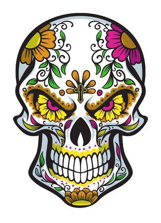 skull with dia de los muertos make up Banco de Imagens - 136213671