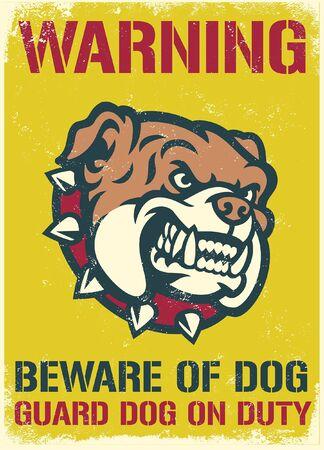 warning sign of fierce bulldog Vetores
