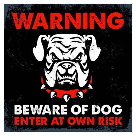 warning sign beware of dog with image of fierce bulldog head Banco de Imagens - 136214680