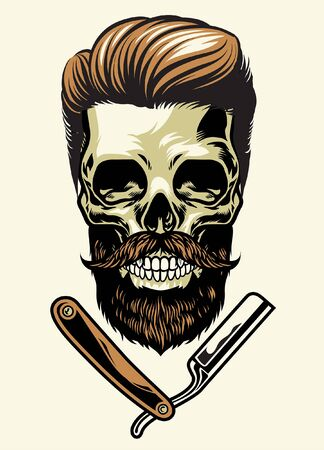 hipster bearded skull with razor Çizim