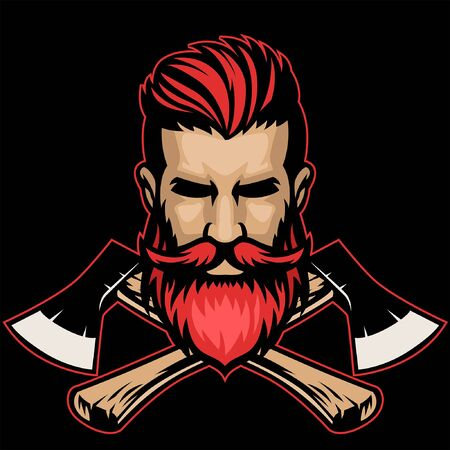 head of hipster lumberjack with crossed axes Ilustracja