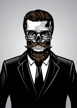 hipster skull wearing suit