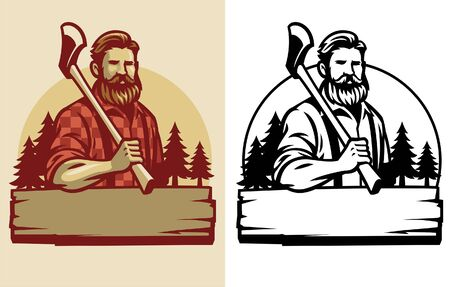 set badges of lumberjack concept Ilustracja