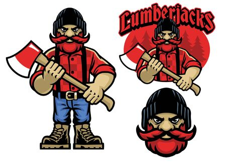 set of lumberjack mascot character Ilustracja