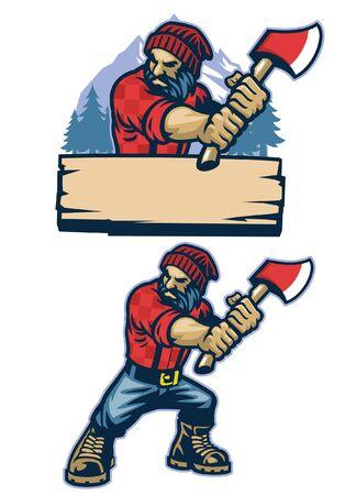 conjunto de diseño de mascota de leñador