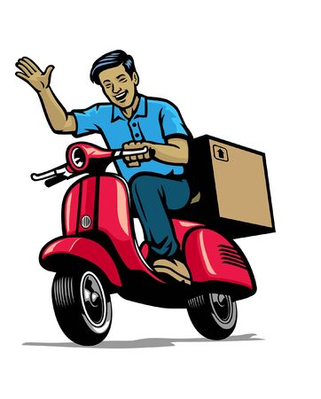 happy man riding old scooter motorcycle delivering box