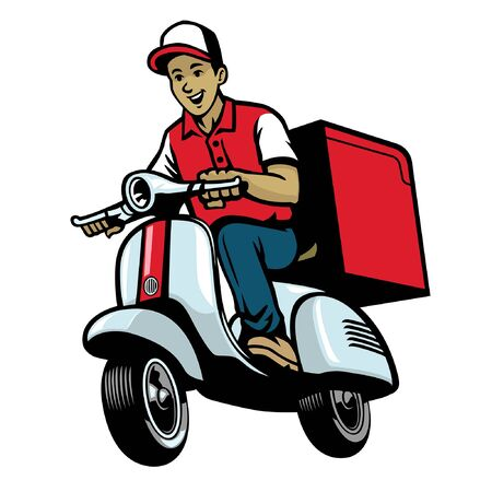 delivery man worker riding scooter motorcycle