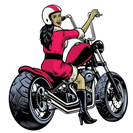 lady cosplay santa claus riding chopper motorcycle