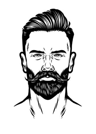 head of hipster man with hairstyle and beard Ilustração