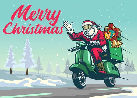 happy santa claus riding scooter motorcycle on the snowy christmas road