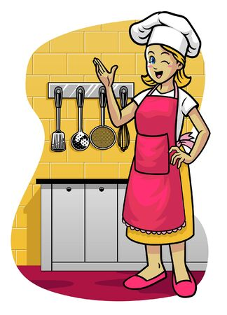 happy mother wearing apron in the kitchen Banco de Imagens - 137056781