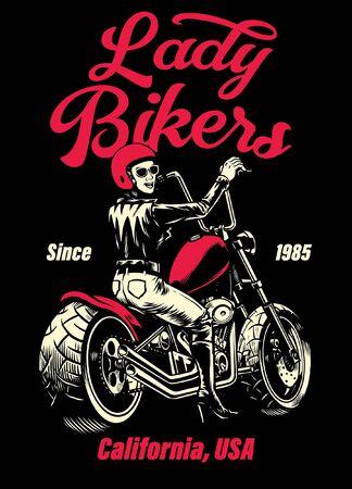 t-shirt design of women riding chopper motorcycle