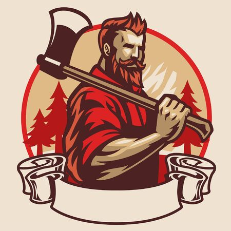 lumberjack hold axe design with blank banner