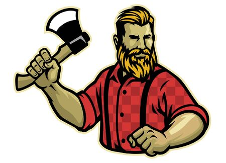 lumberjack hold the axe Banco de Imagens - 137056792
