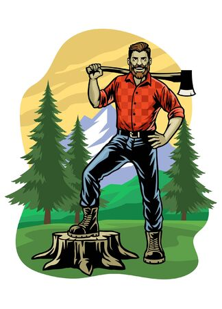 lumberjack with axe on the woods