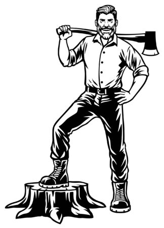 lumberjack stand over the cut wood Ilustracja