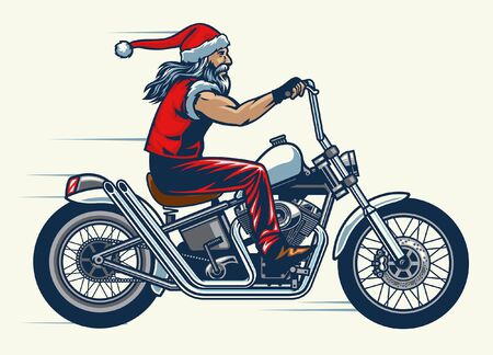 santa claus riding chopper motorcycle