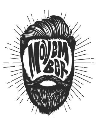 design with haircut and beard Ilustracja