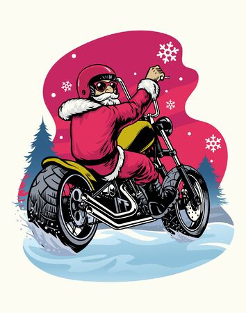 santa claus riding old chopper motorcycle