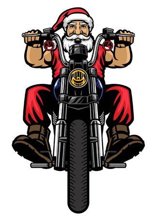 old santa claus riding motorcyle
