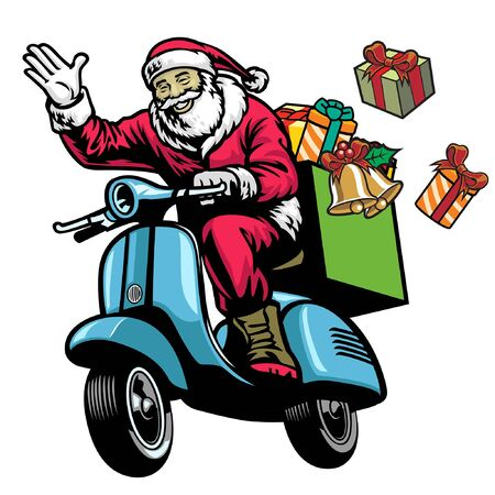 happy santa claus riding old scooter motorcycle