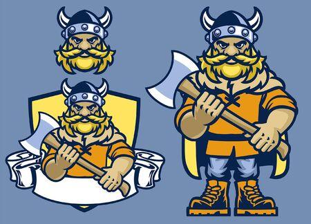 set of viking mascot character