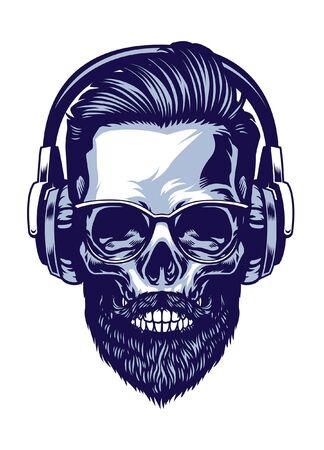 skull of hipster wearing headphone