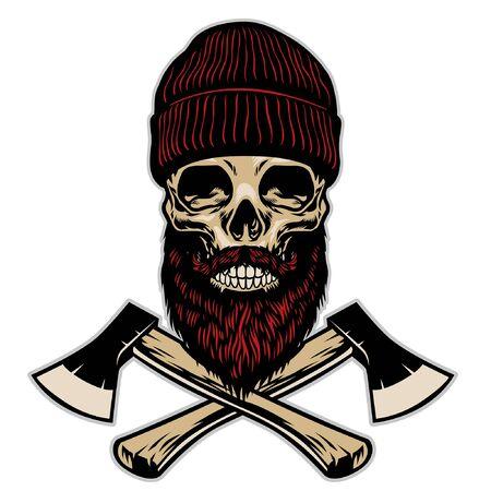 skull of lumberjack with crossed axes